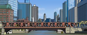 2D design render of Chicago, IL Wells St bridge by Bionic Tree
